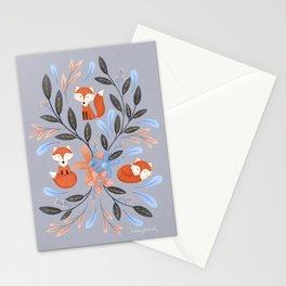 Folk Art Foxes | Grey Stationery Cards