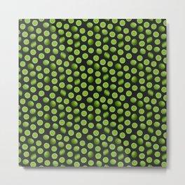 Dancing Green Limes on Black Metal Print