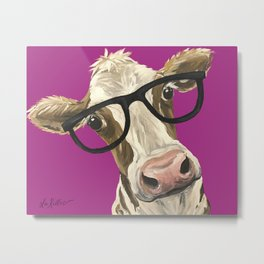 Cute Glasses Cow, Colorful Cow With Glasses Metal Print
