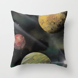 Planets in Space - Spray Paint Art Throw Pillow