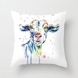 The Happy Goat Throw Pillow