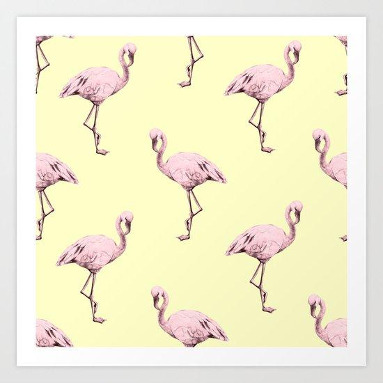 Flamingos in Flamingo Pink on Pale Yellow Art Print