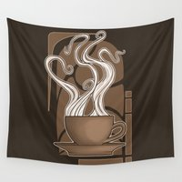 nouveau Wall Tapestries featuring Coffee Nouveau by Perdita