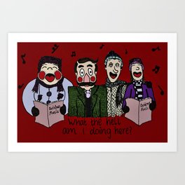 Christmas carolling (Coloured version) Art Print