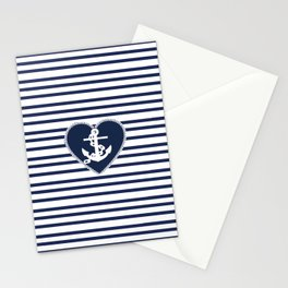 Modern navy blue white heart anchor nautical stripes Stationery Cards