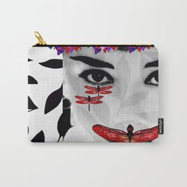 DRAGONFLY WOMAN ELEGANT RED Carry-All Pouch