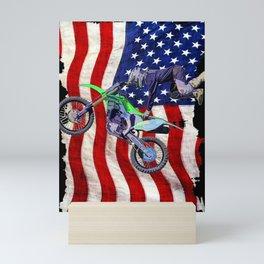 High Flying Freestyle Motocross Rider & US Flag Mini Art Print