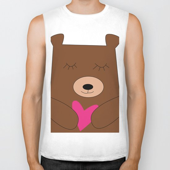 Bear in love Teal Biker Tank