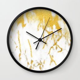 White Chocolate Marble Drizzled With Gold Veins Wall Clock