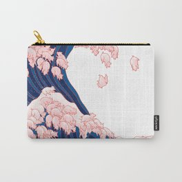 Pink Pigs Waves in White Carry-All Pouch