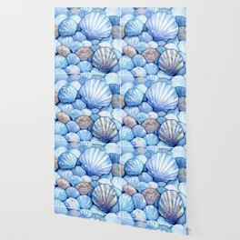 Sea Shells Aqua Wallpaper