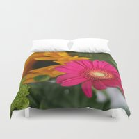hot pink Duvet Covers featuring hot pink by EnglishRose23