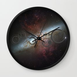 Doctor Who Allons-y Gallifrey  with the Starburst Galaxy M82 Wall Clock
