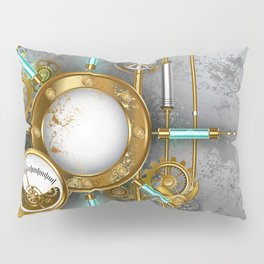 Steampunk Round Banner with Pressure Gauge Pillow Sham