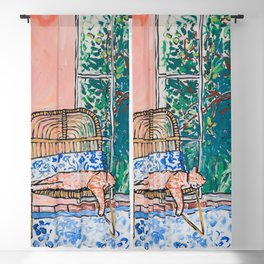 Napping Ginger Cat in Pink Jungle Garden Room Blackout Curtain