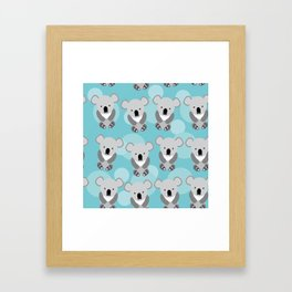 koala Seamless pattern with funny cute animal on a blue background Framed Art Print