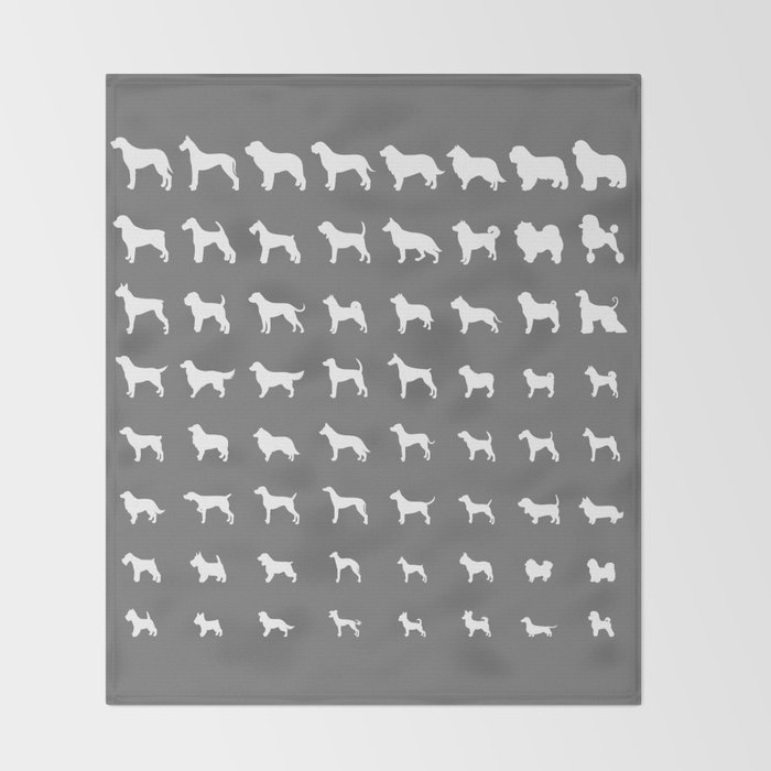All Dogs (Grey/White) Throw Blanket
