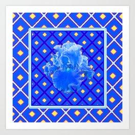Blue Pattern Baby Blue Iris Art Yellow Checks Art Print