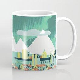Vintage Mid Century Modern Iceland Scandinavian Travel Poster Ocean Whale Winter Village Coffee Mug