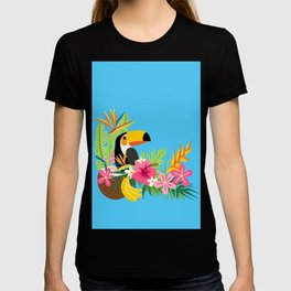Tropical Toucan Island Coconut Flowers Fruit Blue Background T-shirt