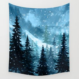 Winter Night Wall Tapestry