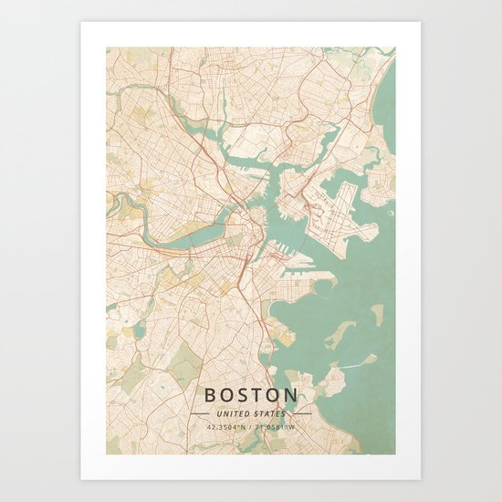 Boston, United States - Vintage Map by designermapart