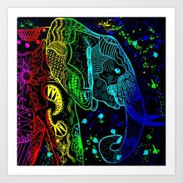 Rainbow Zentangle Elephant on Black Background Art Print