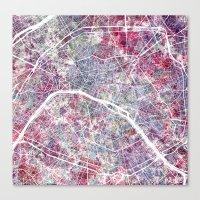 paris map Canvas Prints featuring Paris Map by MapMapMaps.Watercolors