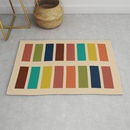 Nelson Blocks - Midcentury Modern Geometric in Mid Century Mod Mustard, Olive, Teal, Orange, Beige Rug