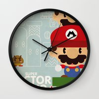 mario bros Wall Clocks featuring mario bros 2 fan art by danvinci