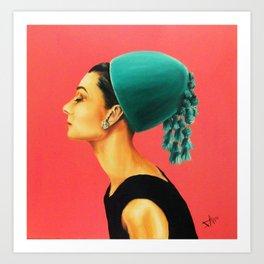 Audrey Hepburn in green hat Art Print