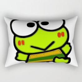 frog green big eye face smile Rectangular Pillow