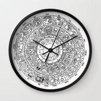 calendar Wall Clocks featuring Mayan Calendar by Mantis Galleries