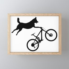 funny MTB mountain bike cycling dog lover gift Framed Mini Art Print