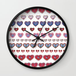 Folky hearts Wall Clock
