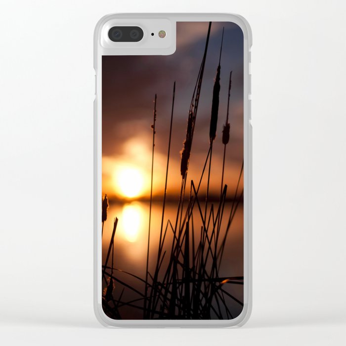 Sunset Lake and Silhouette Clear iPhone Case