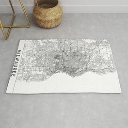 Milwaukee White Map Rug