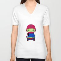 conan V-neck T-shirts featuring A Boy - Trap-Jaw by Christophe Chiozzi