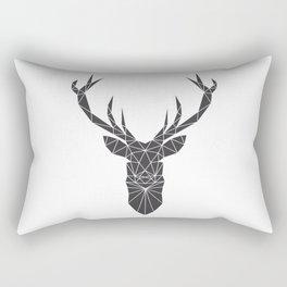 Grey Deer Head Illustration Rectangular Pillow