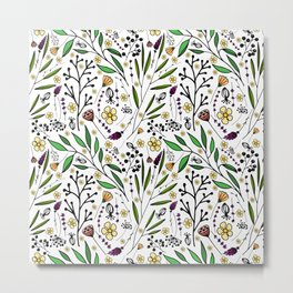 stylish pattern of herbs, flowers and leaves Metal Print
