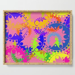 Texture of bright colorful gears and laurel wreaths in kaleidoscope style on a pink background. Serving Tray