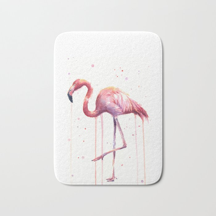 Flamingo Watercolor Tropical Birds Animal Painting Bath Mat