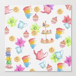 Tea party paper texture Canvas Print