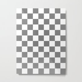 Checkered - White and Gray Metal Print