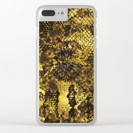 Faux gold snake skin texture on dark marble Clear iPhone Case