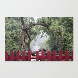 Temple and Tree Canvas Print