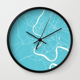 Bangkok Thailand Minimal Street Map - Turquoise and White Wall Clock