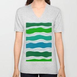 Green doodle waves Unisex V-Neck