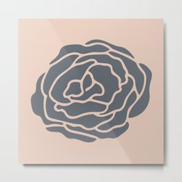 Minimalist Flower Navy Gray on Blush Pink Metal Print