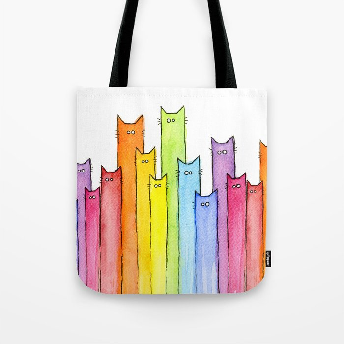 Cat Rainbow Watercolor Whimsical Animals Cats Pattern Tote Bag